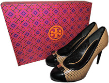 $350 TORY BURCH Beige Perforated Vegan Leather Black Bow Dolly Pumps Shoes 6 -36