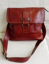 I MEDICI FIRENZE Brown Leather Flap Cross Body Messenger Satchel Bag Purse