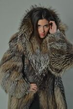 Crystal Fox Fur Coat Hooded Women's Handmade Brand New