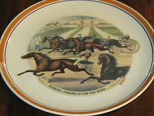 Horse racing scene Currier and Ives decorative plate