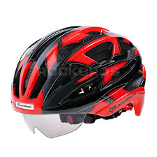 2015 RockBros Cycling Road Bike MTB Helmet Size L 57cm-62cm With Lens Red