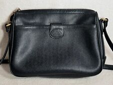 VINTAGE 1985 LIZ CLAIBORNE BLACK CROSSBODY SHOULDER BAG PURSE LEATHER TRIM