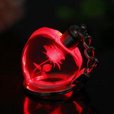 Fairy Heart Crystal LED Light Key Chain Key Ring keyring Engraved Rose Flower