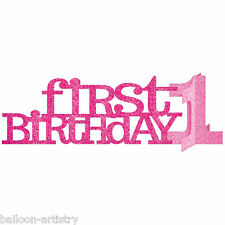 """14"""" Pink Glitter 1st First Birthday Girl Party Table Centrepiece Decoration"""