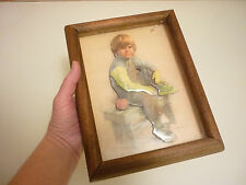 Antique Vintage Picture - Boy Child - Layered For 3D Effect - Framed Wood Glass