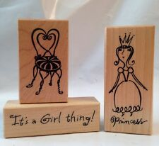 PSX F3384 Princess C3804 It's A Girl Thing D2887 Vanity Chair 3 Rubber Stamp lot