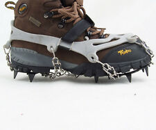Ice Snow Anti-Slip Spikes Chain Crampons Rubber Shoes Covers Ice 12 Teeth Grey