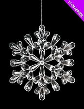 11cm Clear Acrylic Hanging Snowflake Christmas Decoration - Tree Trims (DP244)