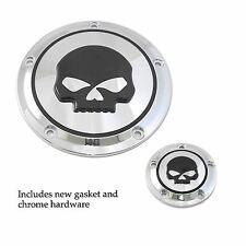 Chrome W/ Black Skull Derby And Timer Covers Street Glide FLHX Softail Dyna