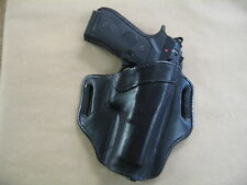 Beretta 92, 96, M9, 92F, 92FS OWB Leather 2 Slot Molded Pancake Belt Holster BLK