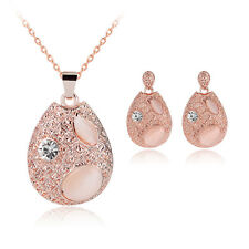 New Arrival Rose Gold Rhinestone Alloy Pendant Necklace Earrings Jewellery Set