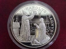 1996 Andorra Large Proof Silver 10 Diners Charlemagne Crowning by Pope-ecu