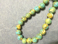 Turquoise Green Gold Raku Style Porcelain Beads 10mm