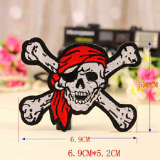 Embroidered Sew Iron On Patch Pirate Skull Crossbones Punk Applique Transfer