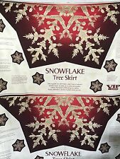 Cotton Quilt Fabric Christmas Snow Flake Tree Skirt 2 Panels by Cranston