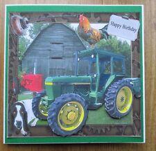 Personalizzato FATTO A MANO Verde Trattore & Barn Compleanno Carta DAD Grandad FIGLIO ZIO