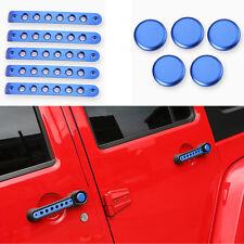 10x Aluminum Car Door Grab Handle Trims Cover For 07-16 Jeep Wrangler JK 4D Blue