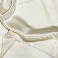 "SILK 100% PURE CHARMEUSE FABRIC 45"" DRESSMAKING SEWING WHITE SOLID COLOR BTY"