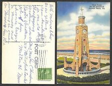 1951 Florida Postcard - Daytona Beach - Clock Tower on the Boardwalk