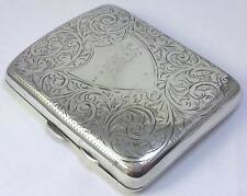 Antico Marchiato Argento Sterling SINISTRO sigaretta / Carta Caso -- 1915 (99g)
