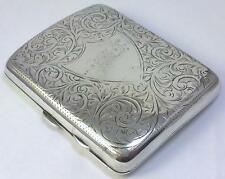 Antique hallmarked Sterling Silver Left-Hand Cigarette / Card Case – 1915  (99g)
