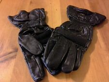 NOS- TAURUS LEATHER GLOVES, BLACK WITH ELASTIC WRIST- SMALL