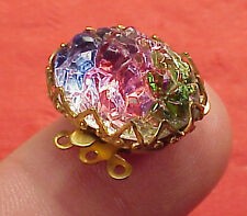 Vintage 19mm X 14mm Necklace Clasp Connector 3Str Watermelon Glass Gold Plated