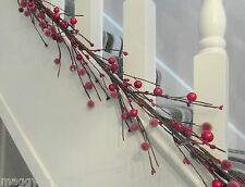 Ascalon Frosted Red Berry Twig Garland  - 150 cm - Christmas Decoration