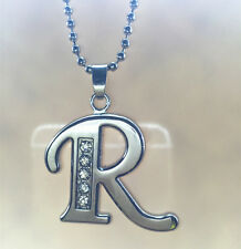 NEW Fashion letters R name silver  crystal pendant necklace chain JEWELRY