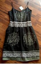 NEW BNWT DOROTHY PERKINS BROWN TRIBAL SEQUIN STRAP CAMISOLE DRESS SIZE 12 EUR 40