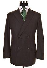 Jil Sander Tailor Made Gray Brown Flannel CHALK STRIPE Suit Jacket Pants 48 38