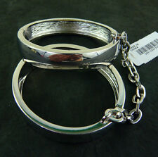 NWT J. CREW HINGED LINKED BANGLES SHINY FAUX RHODIUM PLATED BRASS Made in USA