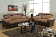 Modern Sofa Set 2Pc Living Room Sofa & Loveseat Saddle Microfiber Furniture
