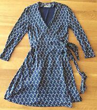 Diane Von Furstenberg Vtg 90s Classic Wrap Dress Navy/floral Print Silk Sz US 6