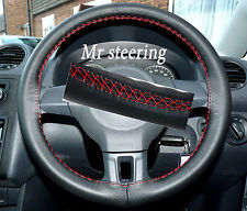 FOR VW CADDY FACELIFT 2010+ REAL ITALIAN LEATHER STEERING WHEEL COVER RED STITCH