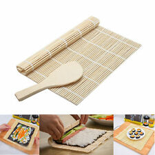 US JAPANESE KITCHEN SUSHI RICE ROLL MAKER BAMBOO TOOL ROLLER  KIT DIY MAKER SET