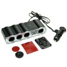 Multi Socket 4 Way Auto Car Cigarette Lighter Splitter USB Plug Adapter Charger
