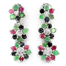 ELEGANT NATURAL EMERALD,RED RUBY,BLUE SAPPHIRE,W. CZ 925 SILVER FLOWERS EARRINGS