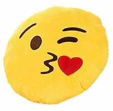 New EMOJI EMOTICON Pillow Plush BLOWING KISS w/ HEART Yellow Dorm Toy gift