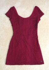 NWT Hollister Womens Lace Mini Bodycon Dress Size 00 XS Burgundy Sexy Fitted