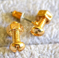 Celeb Style Unique Designer's Gold Tone Screws Earring Studs Latest Fashion