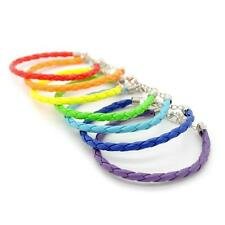 "SET OF 7 RAINBOW COLOR BRACELETS 7.5"" Vinyl Faux Leather Braided Cord LGBT PRIDE"