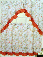 NWT BIRDS FLOWERS KITCHEN WINDOW CURTAINS SET FLORAL TIERS SWAG VALANCE ORANGE