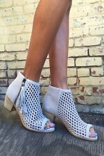 Matisse Indie Suede Ankle Booties Peep Toe Ivory 9 New Without Box!