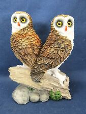 Brown Barn Owl pair on branch resin figurine home decor collectible D