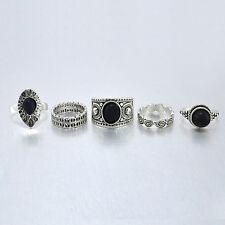5 pcs Vintage Antique Girls Ring Sets Natural Black Stone Finger Rings Hot Gift