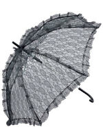 Victorian Steampunk Black Lace Parasol Umbrella Fancy Dress Accessory Prop New