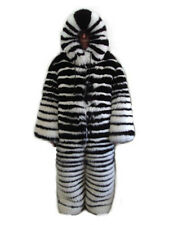 BRAND NEW HOODED TWO TONE BLACK & WHITE FOX FUR SNOWSUIT MEN MAN SZ CUSTOM MADE