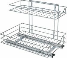 2 Shelf Sliding Kitchen Storage - Chrome.