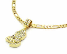 Mens Gold Plated Prayer Hands Pendant Hip-Hop 24 Inch 5mm Figaro Necklace Chain